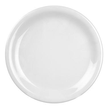 Melamine Narrow Rim Round Plate, White – 10 1/2