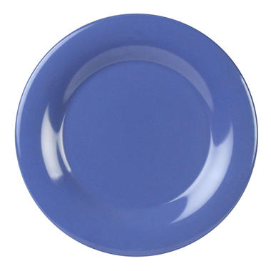 Melamine Wide Rim Round Plate - Blue - 12 pk. - Various Sizes