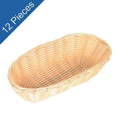 "Straw-like Basket w/ Gold Trim - 8-1/2"" - 12 pk."