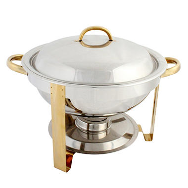 Stainless Steel Gold Accent Round Chafer - 4 qt.