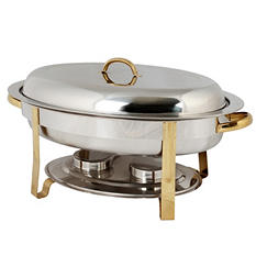 Stainless Steel Gold Accented Oval Chafer - 6 qt.