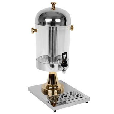 Excellanté Stainless Steel Juice Dispenser with Gold Plated Accents - 2.2 Gallon