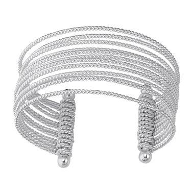 Multi-Row Wire Cuff Bangle Bracelet in Sterling Silver
