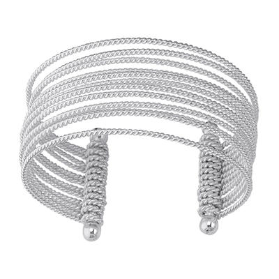 Multi-Row Wire Cuff Bangle Bracelet in Sterling Silver