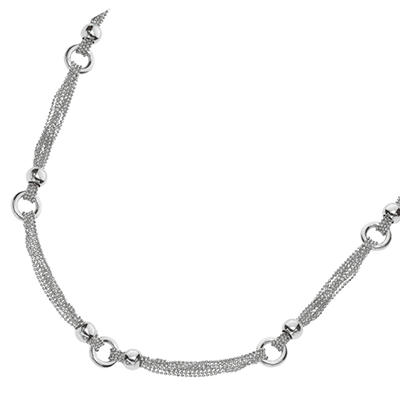 Fancy Link Fashion Necklace in Sterling Silver - 18""