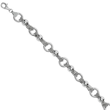 Polished Circle and Diamond Cut Bead Bracelet in Sterling Silver - 7.5""