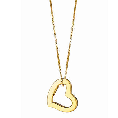 14K Yellow Gold Hollow Heart Pendant on a 16