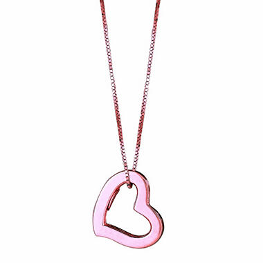 14K Pink Gold Hollow Heart Pendant on a 18