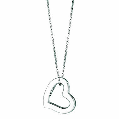 "14K White Gold Hollow Heart Pendant on a 16"" Box Chain"