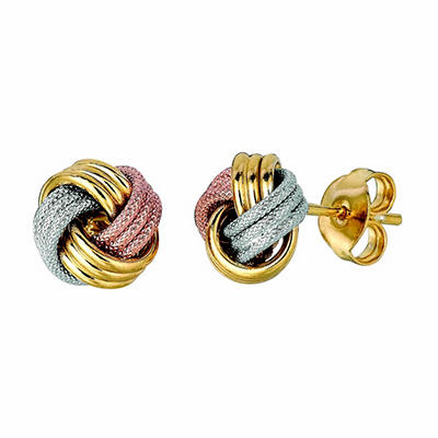 Polished and Textured Knot Post Earrings in 14K Tri-Color