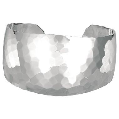 Wide Hammered Cuff Bangle Bracelet in Sterling Silver