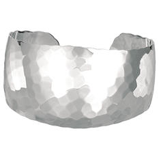 Wide Hammered Cuff Bangle Bracelet in Sterling Silver