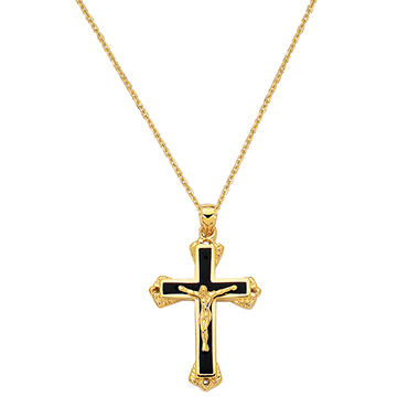 Black Enamel Crucifix Cross Pendant in 14K Yellow Gold