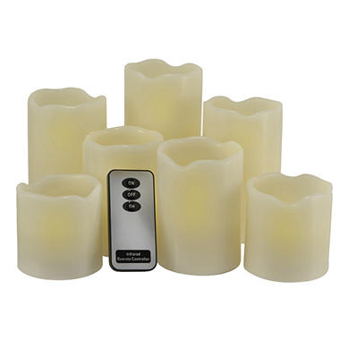 LED Pillar Candles with Remote and Timer - 7 pk.