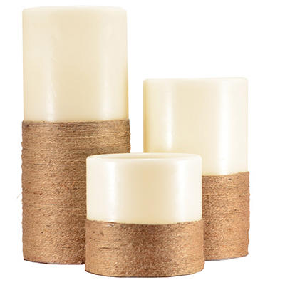 Decorative Jute Wrapped LED Pillar Candles, Vanilla (3 pc. set)