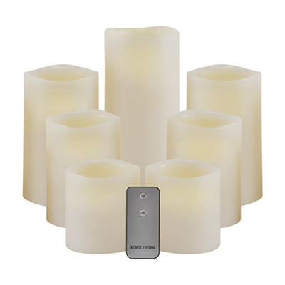 LED Pillar Candle with Remote & Timer, Vanilla (7 pc. set)