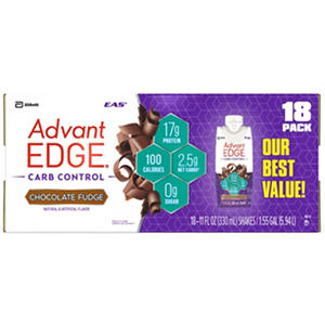 EAS AdvantEdge Carb Control Ready-to-Drink Shake, Chocolate Fudge (18 shakes)