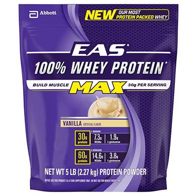 EAS 100% Whey Max Protein Powder, Vanilla (5 lbs.)