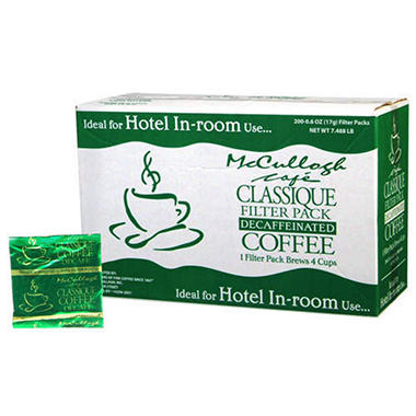 McCullagh Cafe Classique Filter Pack Decaffeinated Coffee - 4 Cup - 200 Pack