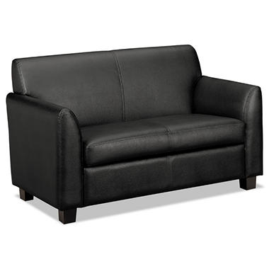 "basyx by HON - Tailored Leather Reception Two- Cushion Loveseat, 53- 1/2""W x 28- 3/4""D x 32""H - Black"