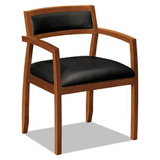 basyx by HON - Wood Guest Chairs with Black Leather Seat/Back - Bourbon Cherry Finish