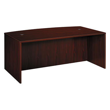 basyx by HON - BL Laminate Series Bow Front Desk Shell - Mahogany