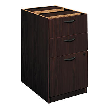 basyx BL Laminate Series 3-Drawer Pedestal File, Mahogany