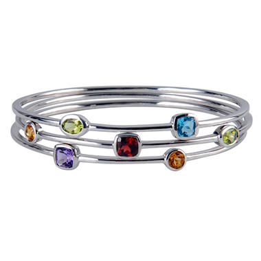 3 Sterling Silver & Multi Gemstone Stack Bangle Bracelets