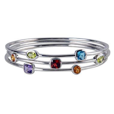 3 Sterling Silver & Multi Gemstone Stack Bangle Bracelets
