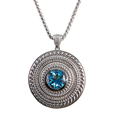 4.5 ct. Blue Topaz and 0.10 ct. t.w. Diamond Pendant in Sterling Silver Rolled Box Chain (H-I, I1)