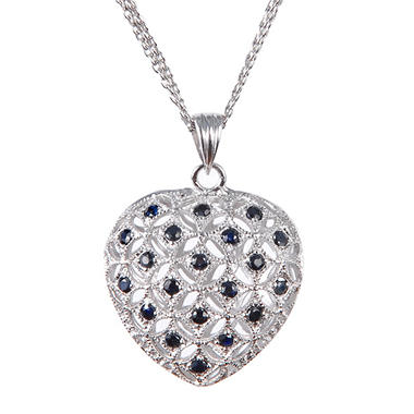 Sterling Silver and Sapphire Puffed Heart Pendant