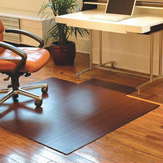 "Anji Mountain Bamboo Roll-Up Chairmat, 55"" x 57"", with lip"