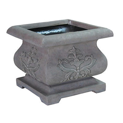 "21.25"" Bombe Planter in Aged Granite Finish"