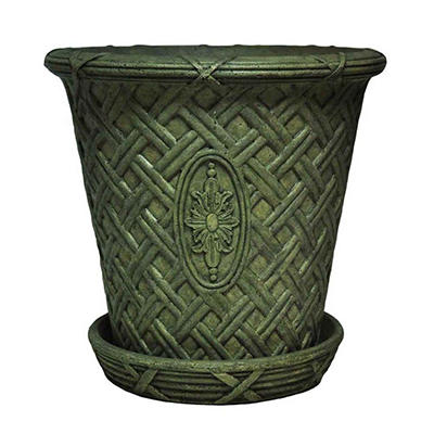 "22.75"" dia Large Lattice Pot with Attached Saucer in Aged Granite Finish"