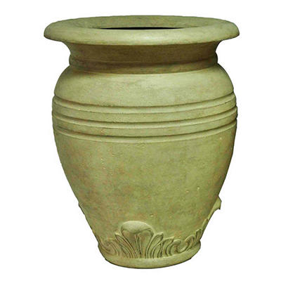 "28"" H Large Greek Olive Jar-Aged Limestone Finish"