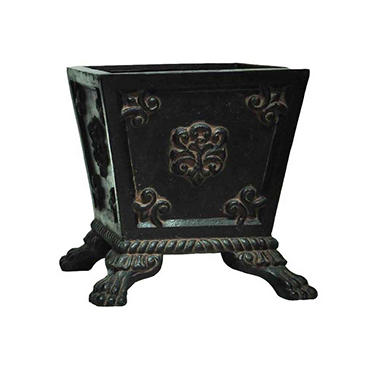 Square Windsor Planter with feet in Aged Charcoal Finish