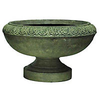Tuscany Low Urn in Aged Granite Finish