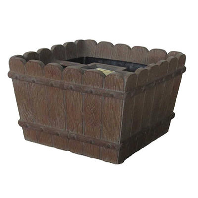 Square Tapered Mailbox Planter in Wood Tone Finish