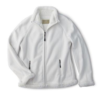 Ladies' Green Tea Fleece Jacket with Faux Fur Lining