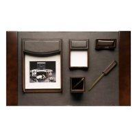 Bey-Berk 6-Piece Leather and Walnut Wood Desk Set