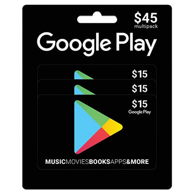 Google Play $45 Multi-Pack - 3/$15 Gift Cards