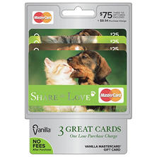 Vanilla MasterCard Puppies and Kittens Design $75 Multi-Pack - 3/$25 Gift Cards