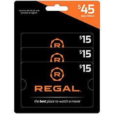 Regal $45 Multi-Pack - 3/$15 Gift Cards