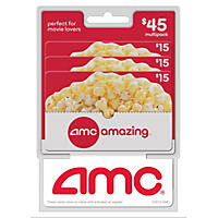 AMC Movie Theatres $45 Multi-Pack - 3/$15 Gift Cards