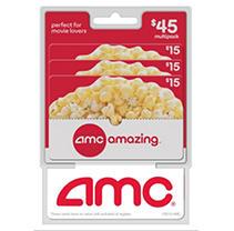 AMC Theatres $45 Multi-Pack - 3/$15 Gift Cards