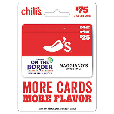 Brinker $75 Multi-Pack - 3/$25 Gift Cards (Chili's, On The Border, Macaroni Grill, Maggiano's Little Italy)