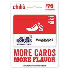 Chili's, Maggiano's, On The Border, and Macaroni Grill $75 Multi-Pack - 3/$25 Gift Cards