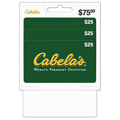 Cabela's $75 Multi-Pack - 3/$25 Gift Cards