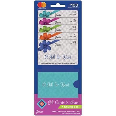 Vanilla MasterCard $100 Multi-Pack - 5/$20 Gift Cards