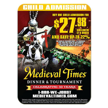 Medieval Times Gift Card - Buena Park, CA - 1 Child Dinner & Tournament
